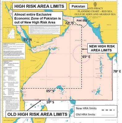 Район повышенного риска нападений пиратов